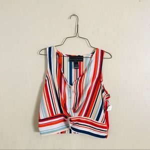 NWT Striped Twist Front Top